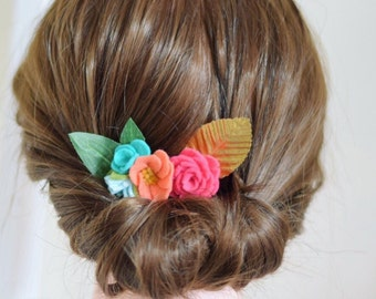 Spring wedding flower hair clips | flower hair clip for boho bride | colourful hair flowers | flower hair clip for women