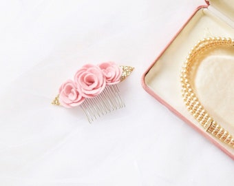 Pastel baby pink flower hair accessory with gold glitter leaves for special occassions  - perfect for bridesmaids and wedding guests