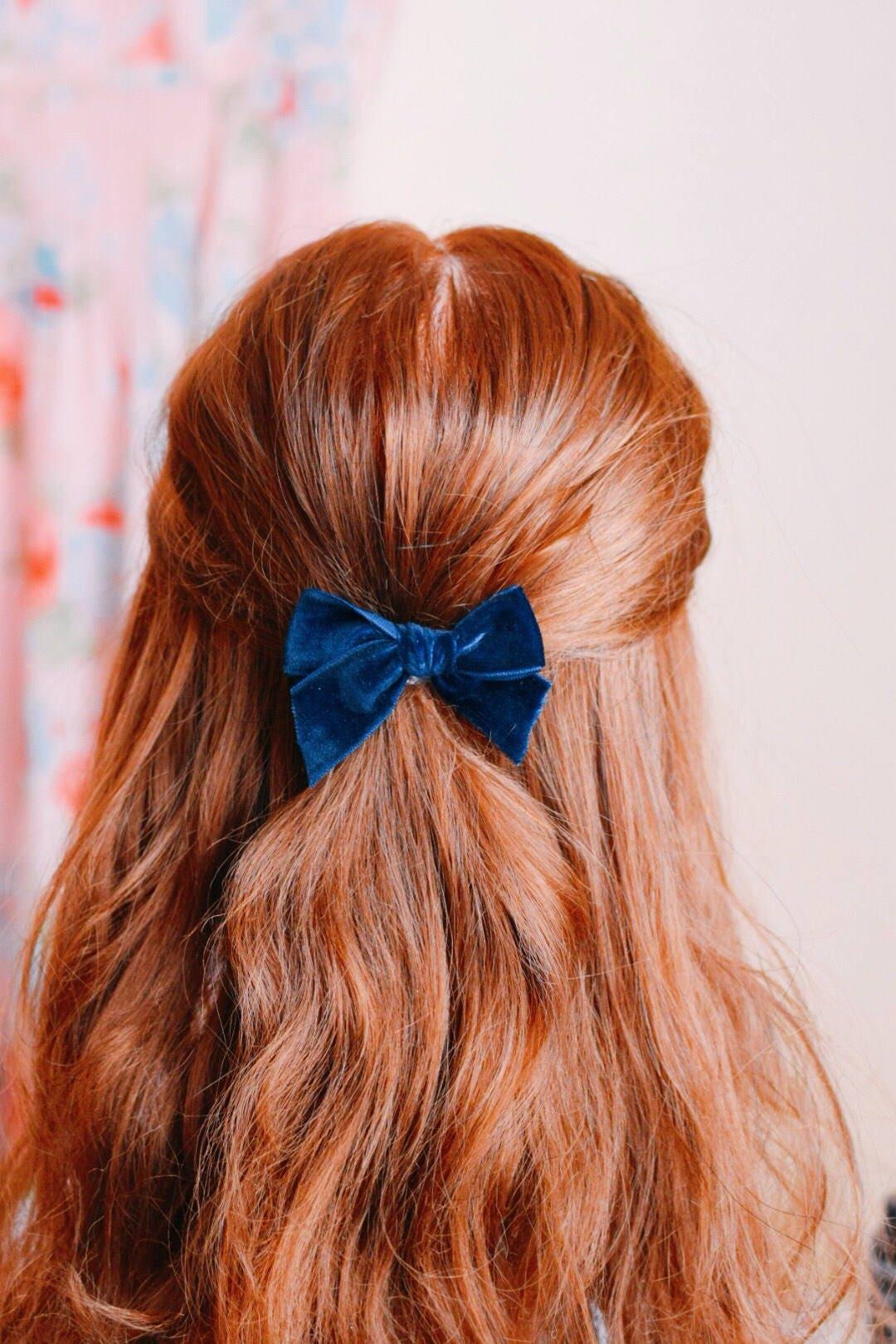 Navy Blue Velvet Bow Hair Clip