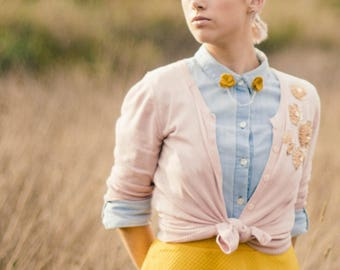 Mustard felt flower collar pins with optional gold or silver chain | quirky accessories | gift for her