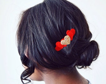 Love heart hair comb | made with 100% wool felt and gold glitter fabric | love heart accessories