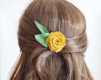 Mustard yellow flower hair clip for women | bridesmaids hair accessories | ladies hair clip | felt flower hair clip