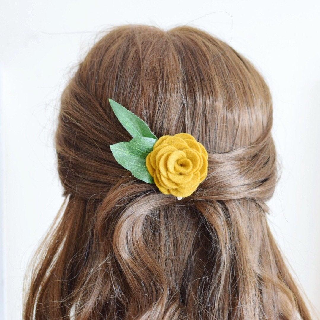 Mustard Yellow Flower Hair Clip For Women Bridesmaids Hair