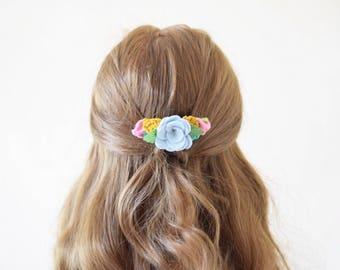 Spring felt flower hair comb | mixed flowers hair accessory | bridal hair piece | bridesmaid hair accessory