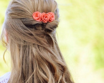 Coral felt flower hair comb | bridesmaids hair accessories | for the quirky bride and wedding guests | gift for her