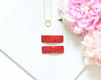 Set of 2 red glitter hair clips | simple red hair accessories for special occasions | gifts under 5
