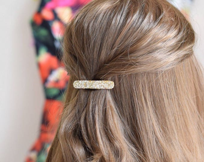 Featured listing image: Minimal gold glittery hair clip for special occasions