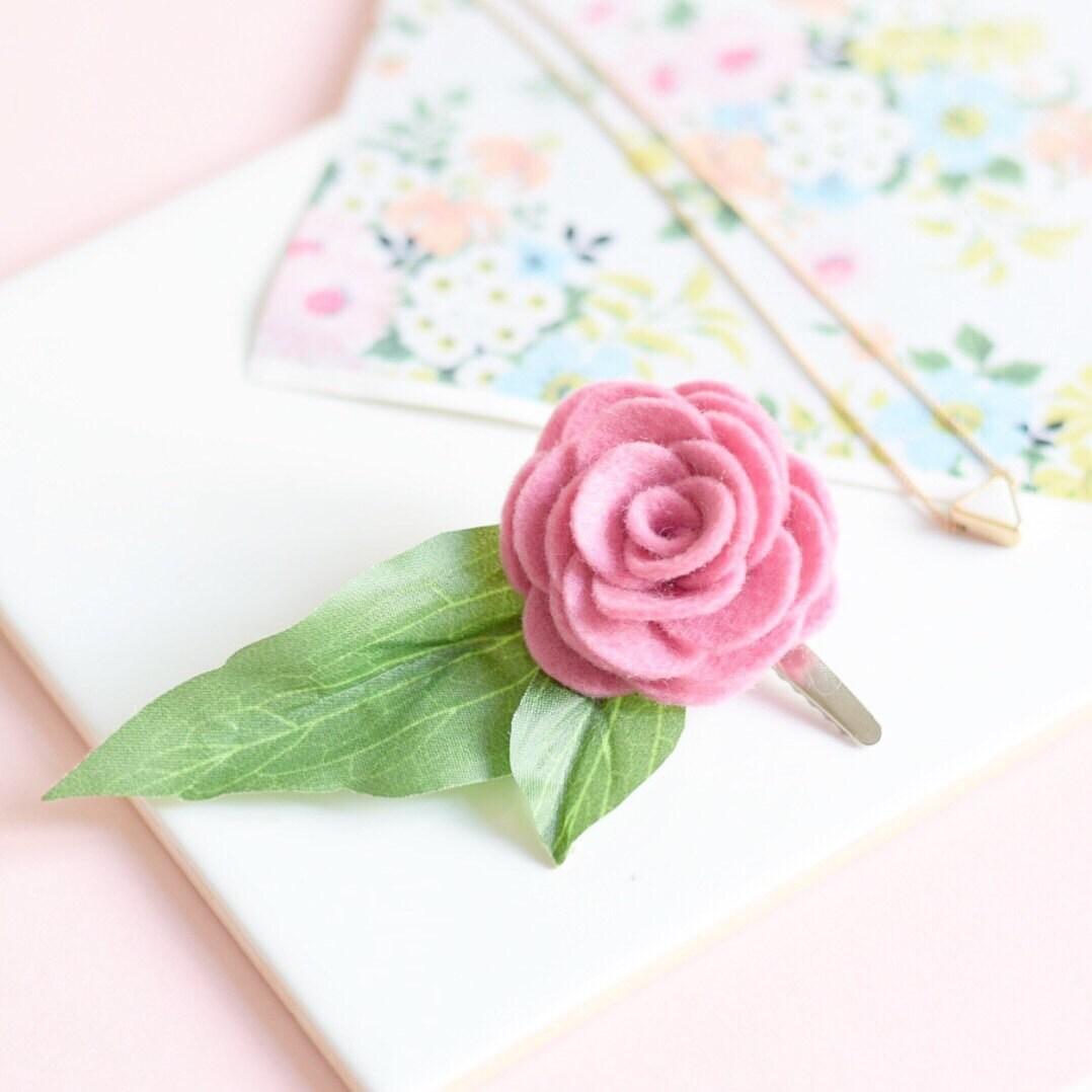 Pink flower hair clip for women bridesmaids hair accessories pink flower hair clip for women bridesmaids hair accessories leafy hair clip mightylinksfo