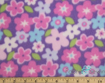 1117 FLORAL EASTER EGGS TOSS PINK FLEECE PRINTED FABRIC BY THE YARD BLANKET