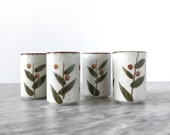 Set of Four Otagiri Bittersweet Japanese Stoneware Cups - Tea Espresso Cup Shot Glass Vintage Retro Earth Tone Neutral Boho Kitchen