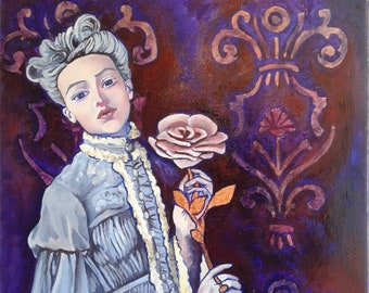 Baroque woman painting on canvas, woman portrait, oil painting, wall decoration, original painting, work of art, shabby chic painting
