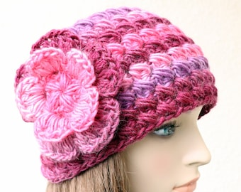 Crochet HEADBAND For Adult Women, Big Flower Headband, Pink Flower Headband, Gift For Her, Ear Warmer, Lyubava Crochet Item, Ready to Ship