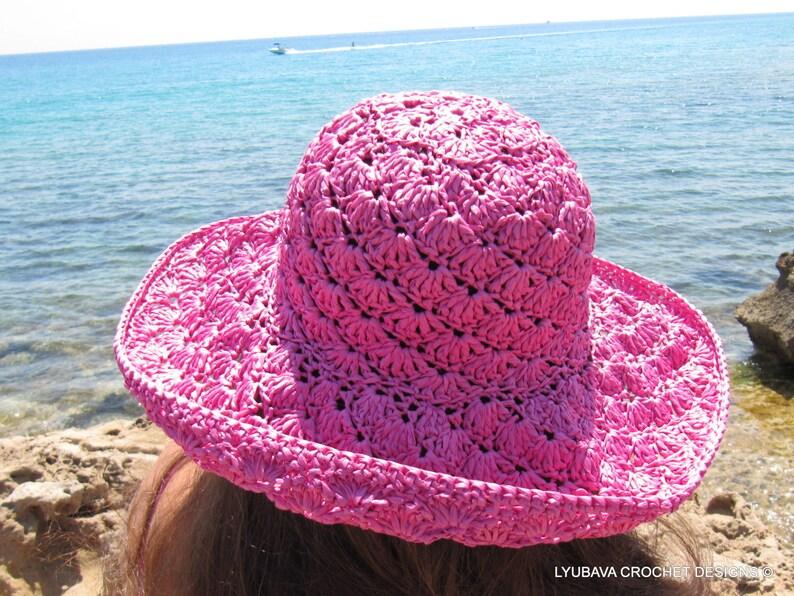 Gift for her Wide brim sun hat Summer hat for women Hand crocheted hat Crochet sun hat Hat with brim Floppy hat Pink hat Beach hat