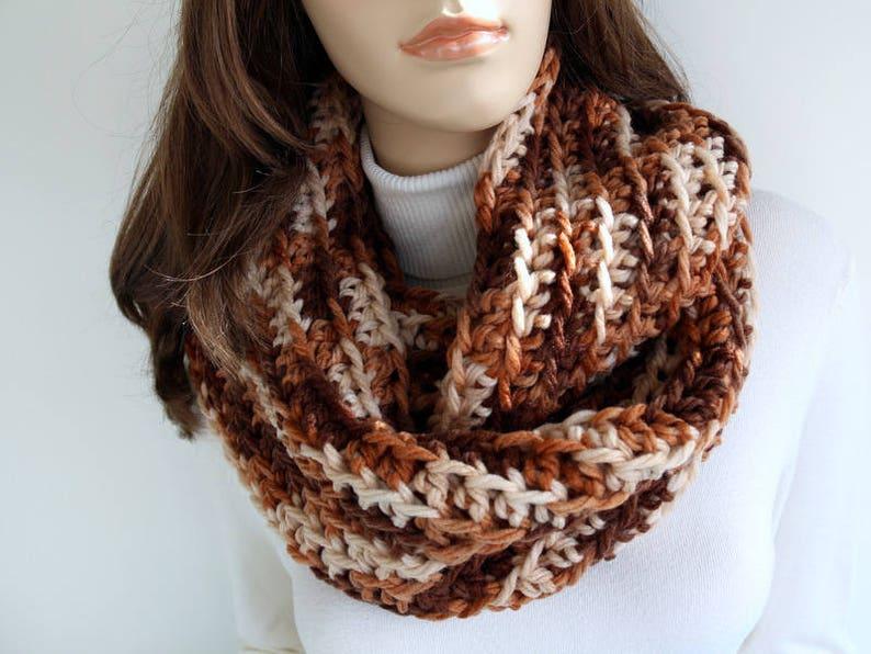 Handmade Crochet Scarf Unisex Scarf Multicolor Brown Scarf Etsy