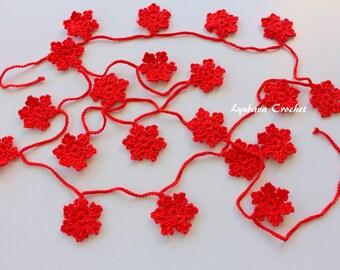 Crochet Garland, Red Snowflakes Garland, Christmas Decorations, Christmas Tree Ornaments Winter Decor Handmade Christmas Gifts Ready To Ship