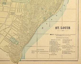 St Louis Street Map St Louis Antique Old 1800s Original