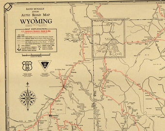 Road map of wyoming | Etsy