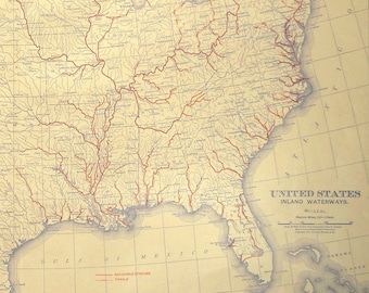 United States River Map EXTRA LARGE Inland Waterway Map US Stream