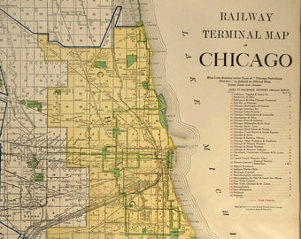 Old chicago area map | Etsy