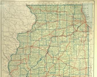 Illinois highway map | Etsy