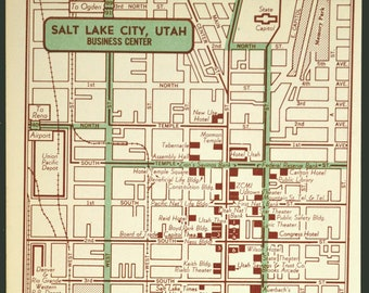 Salt Lake City map 1891 Vintage map of Salt Lake City UT 3 | Etsy
