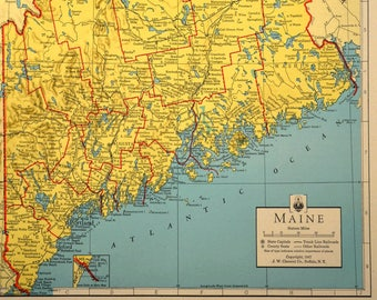 Colorful Yellow Vintage Maine Map Maine Wall Art Colored