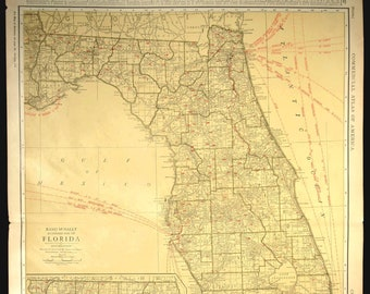 Florida Railroad Map.Florida Railroad Etsy