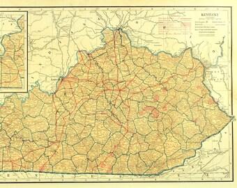 Large kentucky map | Etsy