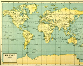 Vintage Looking World Map.Vintage World Map Etsy