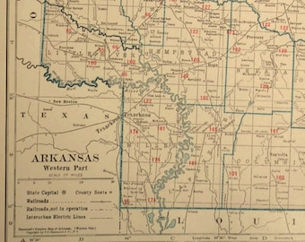 Western Arkansas Map LARGE Arkansas Railroad Map West
