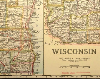Wisconsin road map | Etsy on