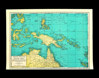 antique print about Papua Island  Bismarck archipel Loyalty Islands Kaiser Wilhelm land 8x11/'/' 1884 Old map of New Guinea and Caledonia