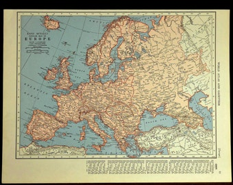 1940s Map Of Europe.1940 Map Of Europe Etsy