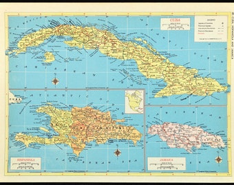 Jamaican wall map | Etsy