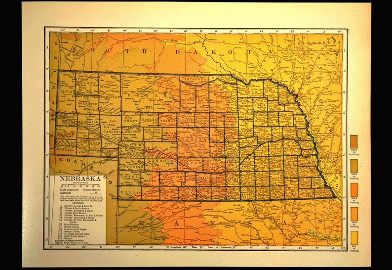 Nebraska Map Of Nebraska Topographic Map Colorful Topo Wall Etsy