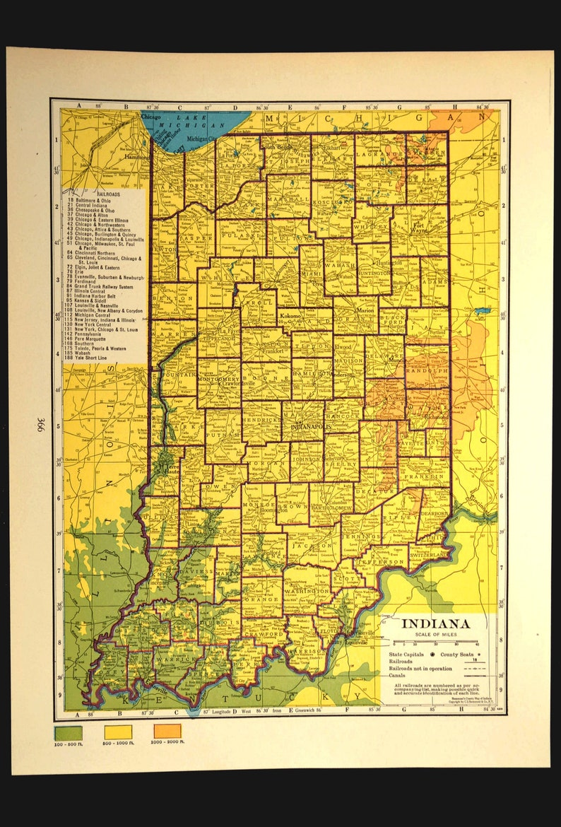 Indiana Map Of Indiana Wall Art Decor Topographic Map Colorful Etsy