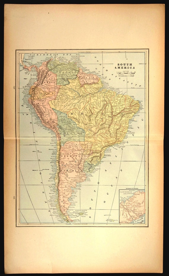 Map South America Map Large Continent Original Late 1800s Gift Etsy