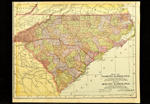 North Carolina Map of South Carolina Map Wall Art Decor Antique Original  1900 Gift Idea Gift For Him Wedding Gift Old