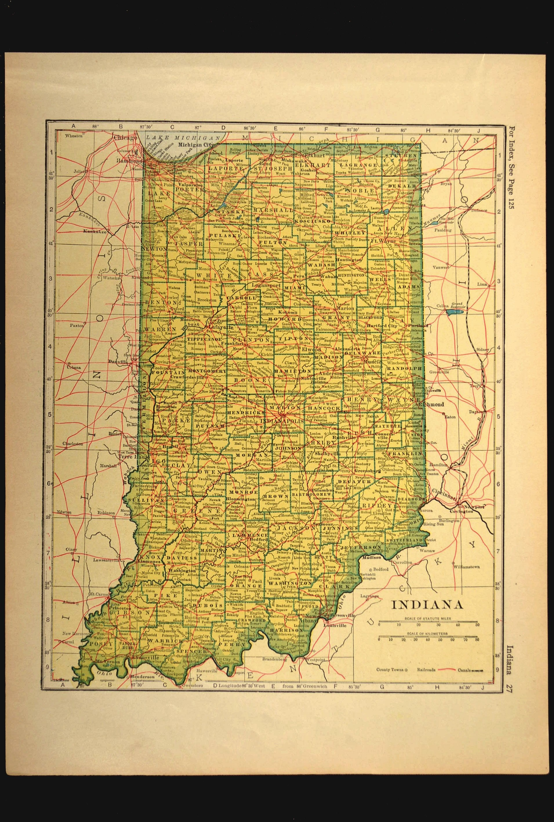 Indiana Map Of Indiana Wall Decor Art Railroad Antique Gift Etsy