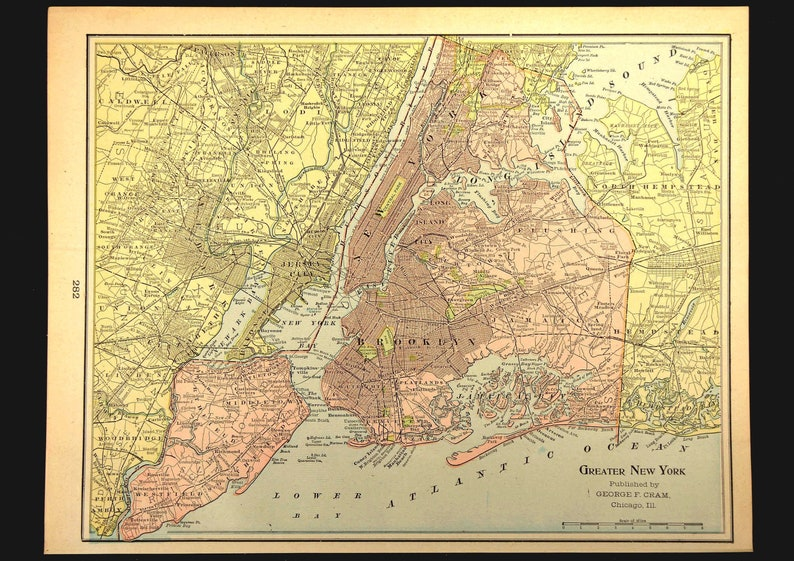 Map Of Greater New York City Area.New York City Vicinity Map Of Manhattan Wall Art Decor Brooklyn Antique Wedding Gift Idea For Him Print