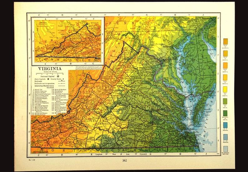 Virginia Map Of Virginia Wall Art Decor Topographic Map Etsy