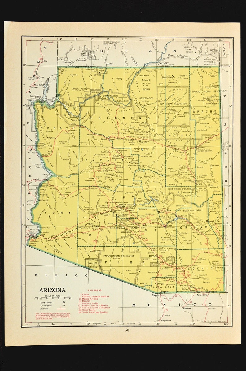 Arizona Map of Arizona Railroad Map Wall Art Decor 1940s Yellow Original  Wedding Gift Idea For Him Print