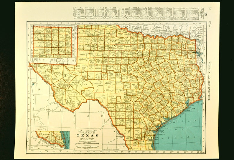 Map Of Texas Please.Texas Map Of Texas Wall Art Decor Vintage Old 1930s Original Gift Idea Gift For Him Wedding Gift Lithograph Print