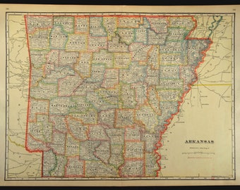 Arkansas County Map Arkansas LARGE Antique Colorful