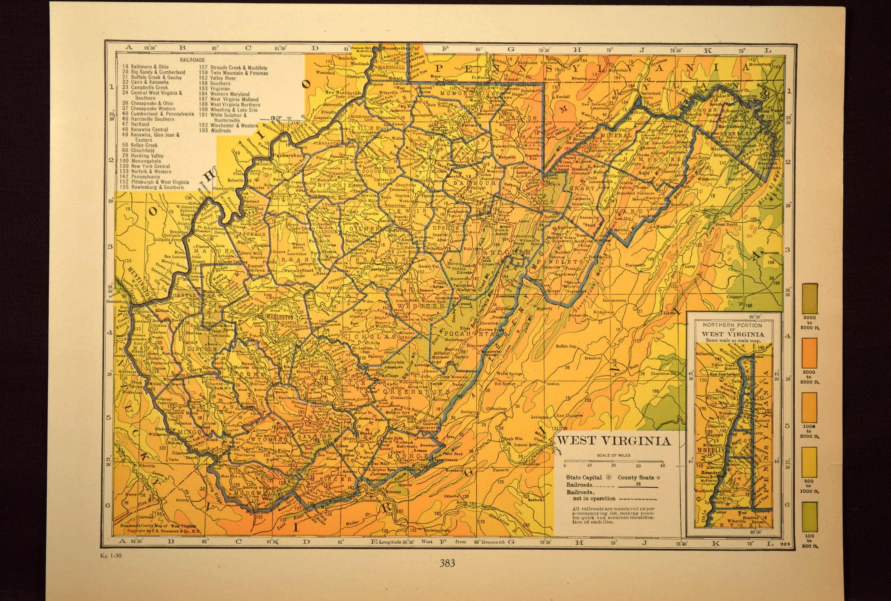 Topographic Map West Virginia.West Virginia Map Of West Virginia Wall Decor Art Topographic Etsy