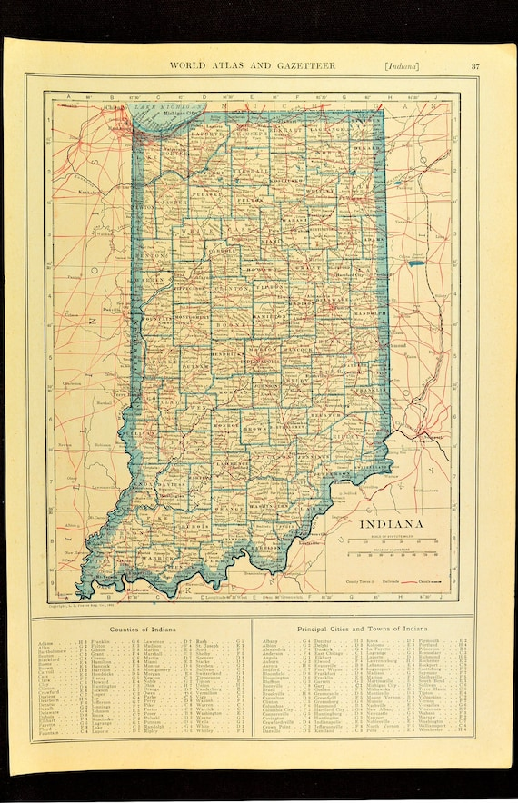 Indiana Map of Indiana Wall Art Decor Antique Railroad Original Wedding  Gift Idea For Him Print Old