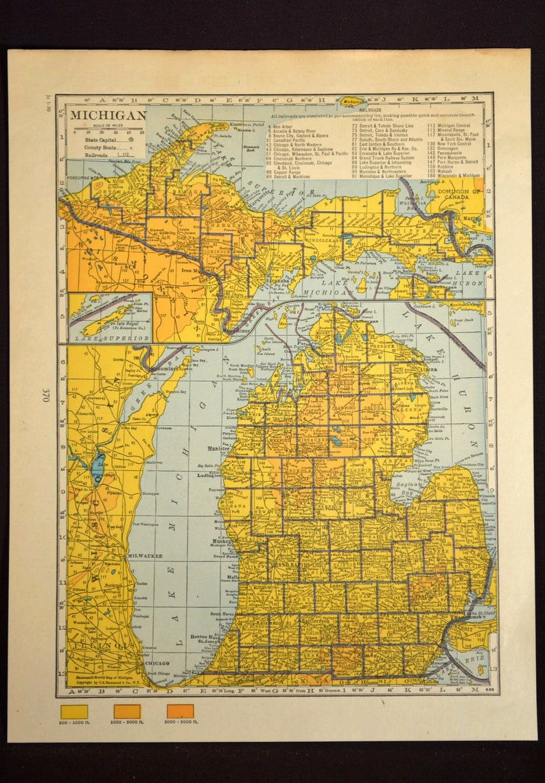 Michigan Map Of Michigan Wall Decor Art Topographic Map Colorful Colored Topo Original Wedding Gift Idea For Him Print Old