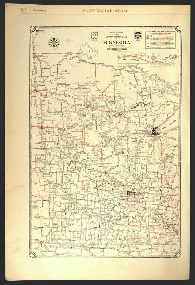 Minnesota Road Map Highway Map Roadway Antique Original | Etsy