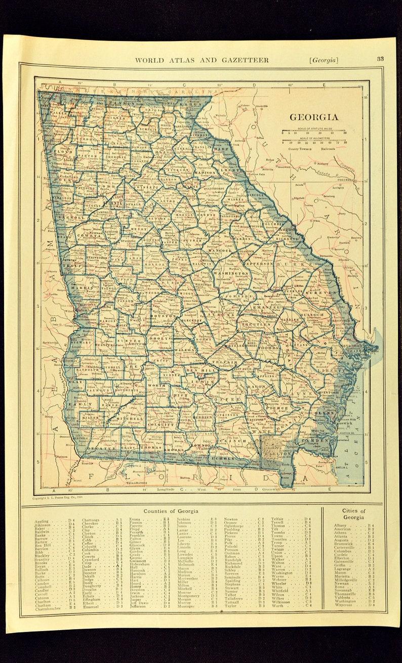 Railroad Map Of Georgia.Georgia Map Georgia Wall Art Decor Antique Railroad Original 1921 Wedding Gift Idea For Him Print