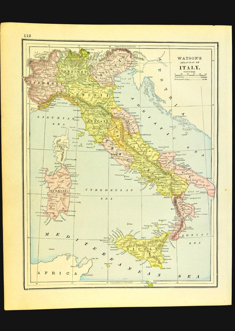 Antique Italy Map Of Italy Wall Decor Art Sicily Corsica Etsy